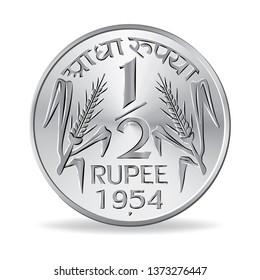 Indian half rupee coin 1954 in vector illustration