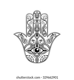 Indian Hand Drawn Hamsa with All Seeing Eye. Arabic and Jewish amulet. Vector Illustration.