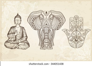 Indian Hand Drawn Hamsa with All Seeing Eye, Elephant, and Sitting Buddha. Arabic and Jewish amulet. Vector Illustration.