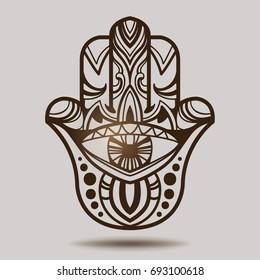 Indian hand hamsa. Hand of Fatima. Symbol of luck. Esoteric spiritual ethnic mascot. Bohemian style.