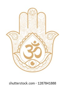 Indian hand Hamsa or hand of Fatima with third eye and logo Om. Hand drawn