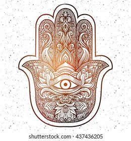 Indian hand Hamsa or hand of Fatima with third eye,good luck charm, hand drawn mehendi zentangle boho chic line art vector illustration. Esoteric spiritual ethnic mascot.Tattoo,coloring,t-shirt design
