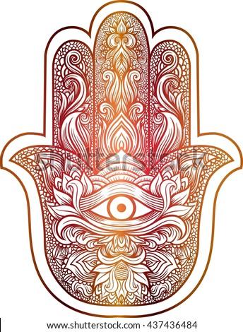 71720481 Indian hand Hamsa or hand of Fatima with third eye,good luck charm, hand