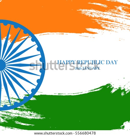 Indian happy republic day greeting card stock vector royalty free indian happy republic day greeting card with ashoka wheel and brush strokes in the colors of m4hsunfo