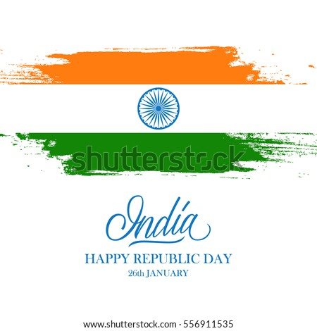 Indian happy republic day greeting card stock vector royalty free indian happy republic day greeting card with handwritten word india and brush strokes in the colors m4hsunfo