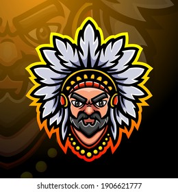Indian head mascot esport logo design