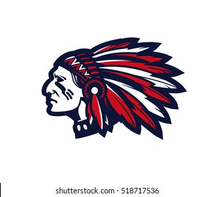 indian head mascot. logo or icon isolated on white background