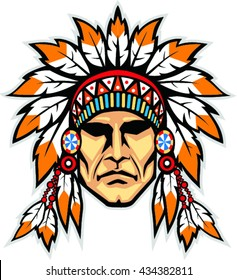 Indian head mascot. Native american indian with headdress.