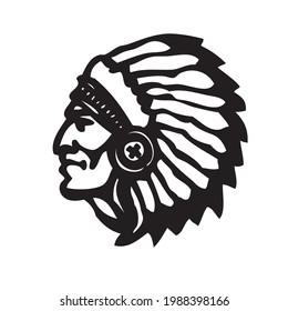 Indian head mascot. Profile of an Indian. Logo or icon. Cherokee. Apache Head drawing. Superior, liegeman