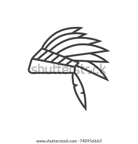 31c37fc4677 Indian Headdress Hat Line Icon Stock Vector (Royalty Free) 740956663 ...
