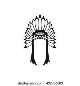 Indian headdress icon, simple style