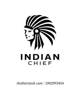 Indian Headdress Native American Chiefs illustration Logo Design Vector Inspiration