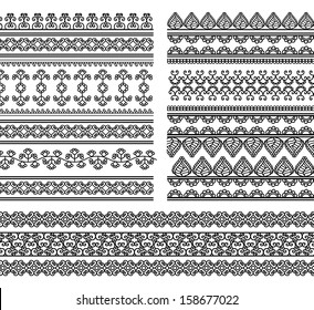 Indian Henna Border decoration elements patterns in black and white colors. Popular ethnic border in one mega pack set collections. Vector illustrations.Could be used as divider, frame, etc