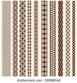 Indian Henna Border decoration elements patterns in brown colors. Popular ethnic border in one mega pack set collections. Vector illustrations.Could be used as divider, frame, etc