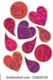 Indian Henna Paisley & Heart Cookies