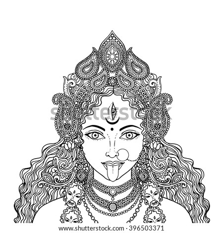 Indian Hindi Goddess Kali Vector Illustration Stock Vector