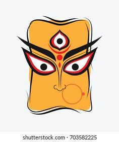 Indian Hindu Religion Goddess Durga Face Illustration
