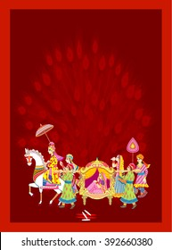 Indian  Hindu Wedding Invitation  Card,    Indian Wedding  Ceremony.     All elements are in separate layers color can be changed easily.