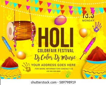 Indian Holi Color fair Festival Celebration Poster Or Banner Background.