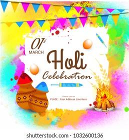 "Indian Holi Traditional Festival ""Holi Fair"" Celebration Poster Or Banner Background."