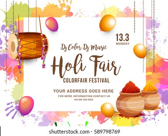 "Indian Holi Traditional Festival ""Holi Fair"" Celebration Poster Or Banner Background."