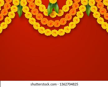 Indian holiday background. Floral garland with yellow flowers and mango leaves. Traditional decoration for wedding, hindu holidays. Vector border ring with copy space.