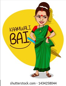 indian housemaid (kamwali bai) cartoon character vector illustration
