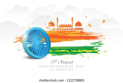 Indian Independence Day, 15th August Background Design with Abstract Tri Color Flag