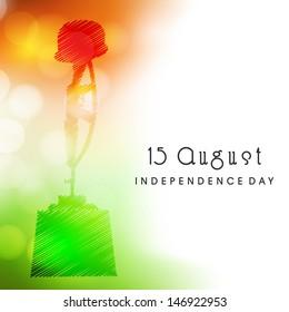 Indian Independence Day background with Amar Jawan Jyoti.