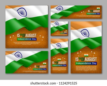 Indian Independence day celebration posters set. 15th of August felicitation greeting vector illustration. Realistic backgrounds with indian flag and ashoka wheel. Indian national patriotic holiday.