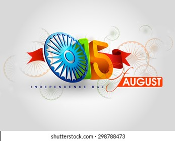 Indian Independence Day celebrations with stylish text 15 August text and Ashoka Wheel. EPS 10.