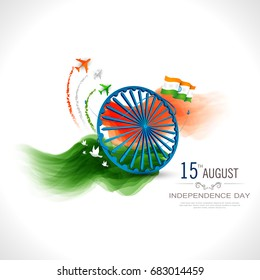 Indian Independence Day celebrations with stylish text 15 August text and Ashoka Wheel.