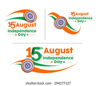 Indian Independence Day concept with text 15th August Set.