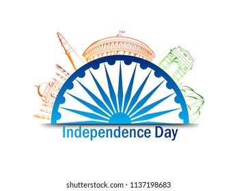 Indian Independence Day design with illustration of famous silhouette monuments. - Shutterstock ID 1137198683