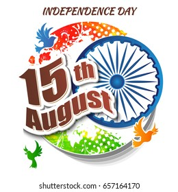 Indian Independence day festive background with text, vector illustration