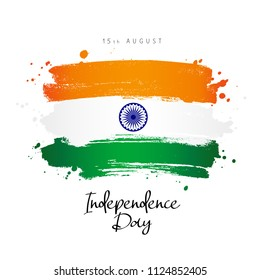 Indian Independence Day. Flag of India. 15th of august. Vector Illustration on a white background. Lettering.