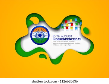 Indian Independence Day holiday background from paper cut shapes with shadow and flags.
