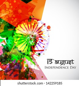 Indian Independence Day national flag colors background with Ashoka wheel.