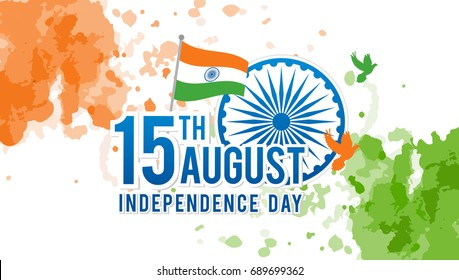 Indian Independence Day on August 15th Vector illustration, Indian flag and Ashoka chakra wheel(spinning wheel) with birds on watercolor splash background.