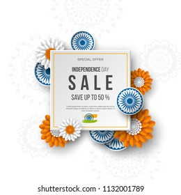 Indian Independence day sale banner. 3d wheels with flowers in traditional tricolor of indian flag. Paper cut style. White background. Vector illustration.