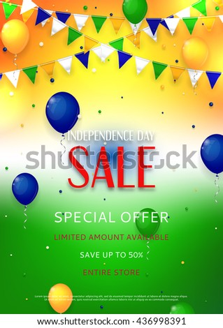 Indian Independence Day Sale Flyer Color Stock Vector Royalty Free