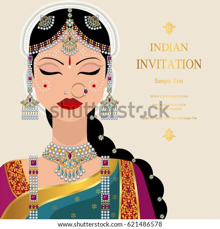 indian invitation card template woman traditional stock vector