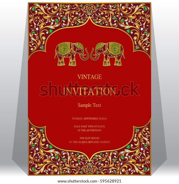 Indian Invitation Card Templates Gold Elephant Stock Vector ...