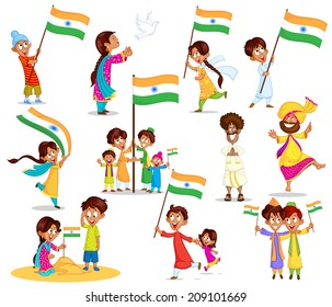 Indian kid with flag of India in vector