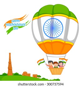 Indian kid hoisting flag of India in vector background