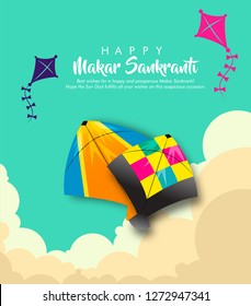indian kite festival makar sankranti vector illustration with abstract background design and  beautiful calligraphy.