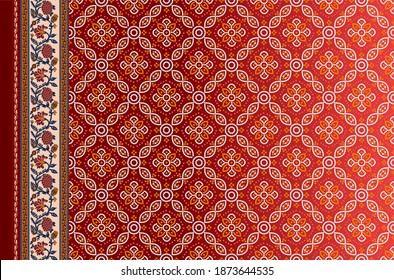 indian kurti   front side geometric border  patoda Bandhani background design