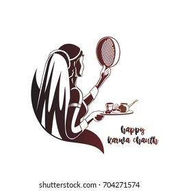 Indian Lady celebrating Karva Chauth, vector illustration