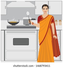 Indian Lady Cooking Food Images, Stock Photos & Vectors | Shutterstock
