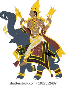 Indian lord Indra sitting on the elephant, indra is also known as winter lord
